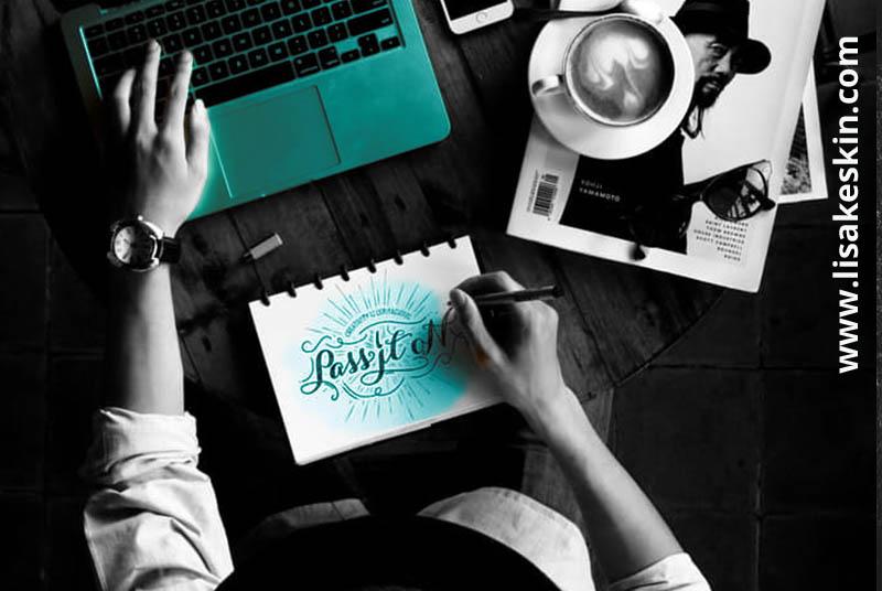 mann sitzend schreibtisch, laptop, grafik