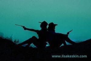 cowgirls silhouette sonnenuntergang