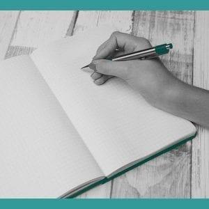 leeres heft, hand, schreiben