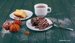 chocolate cake, coffee