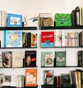 Books stack on white background