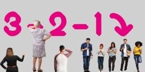 junge und alte Menschen stehen herum, 3,2,1, Countdown, handyzombies