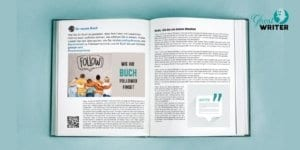 Buch mit Social Media-Symbolen wie Facebook