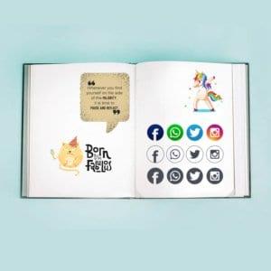 Buch mit Social Media-Icons